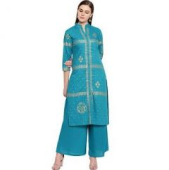 Womens Rayon Fabric, Stitched Straight3|4 Sleeves Kurta with Printed Palazzo (Color:-SkyBlue)