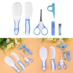 Baby Grooming Kit, Convenient Daily Plastic & Metal Baby Care Kit for Newborn Baby Kids Infants Toddlers (Blue) (6pcs)