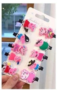 Homeoculture Baby Clips | Different Peppa Pig Characters Clip Fir Girls (Pack of 10)