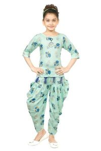 The Crown Designer Printed Cotton Linen Blend Top and Bellon Pant for Girls (Sea Green)