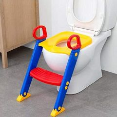 Potty Toilet Seat with Step Stool ladder, Trainer for Toddlers W/Handles Ideal for Baby and Kids (Colour May Vary)