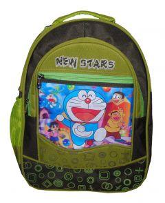 BAGO New Stars Doraemon School Bag For Boy's & Kid's (Black & Green) (Pack of 1)