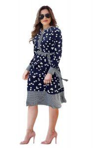 Bagrecha Creations Stylish Polka Printed Dress | Women's Knee Length Dress | Western Wear One-Piece Dress For Girl's & Women's
