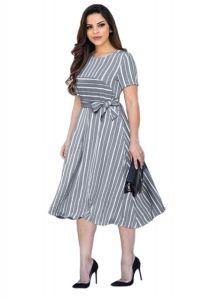 Bagrecha Creations Latest Lining Printed Midi Dress | Knee Length Dress For Women's| Western Wear Dress For Girl's & Women's
