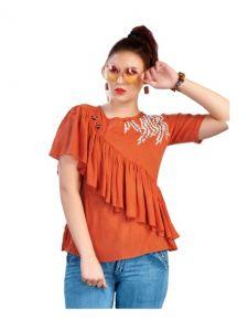 Bagrecha Creations Falak Western Rayon Cotton Top for Women - Orange