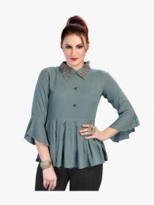 Bagrecha Creations Falak Western Rayon Cotton Top for Women - Grey