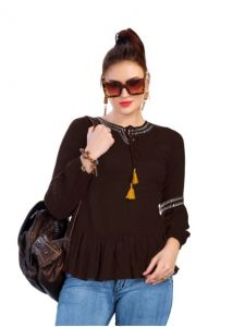 Bagrecha Creations Falak Western Rayon Cotton Top for Women - Brown
