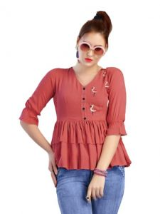 Bagrecha Creations Falak Western Rayon Cotton V-Neck Top for Women