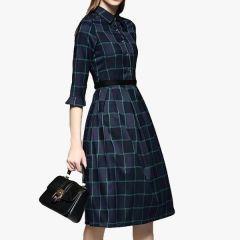 Bagrecha Creations Women's Blue Check Printed Collar Neck Long Top | Knee Length Skater Dress For Girls