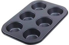 SASH Mart Cup Cakes Baking Tray Muffin Cake Mould Tray Nonstick 6-Slot Midi Shape Baking Pan Tray, Carbon Steel (Black) (Pack of 1)