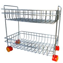 Vaishvi Fruit & Vegetables Kitchen Trolly Multipurpose Stainless Steel 2 Layer Portable Storage Rack Basket | Trolley with Wheels | Vegetable Trolley for Kitchen