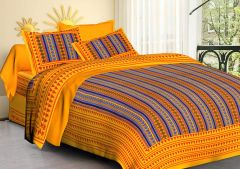 FABRIC EMPIRE Jaipuri Print Cotton Double Bedsheet With 2 Pillow Covers (Size: 90 x 100 Inch)