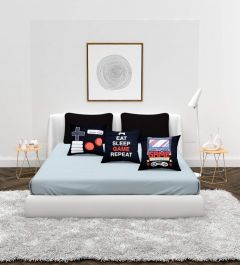 Fabric Empire Bedding Set with 1 Double Bedsheet 2 Pillow Covers and 3 Cushion Covers Size 90 Inch X 100 Inch