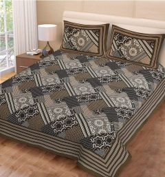 FABRIC EMPIRE Jaipuri 152 TC Print Cotton Double Bedsheet With 2 Pillow Covers (Size: 90x100 Inch)