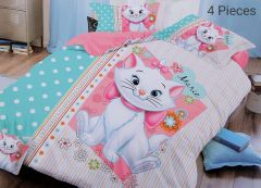 FABRIC EMPIRE Cotton White Cat Printed Kids Version Comforter Set With 1 Double Bedsheet and 2 Pillow Covers