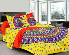 Fabric Empire King Size Bedsheet and 2 Cushion Cover of Cotton (Pack of 3)