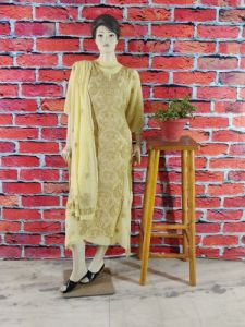 WACA Voguish, Stylish & Fashionable Suit Piece with Chikankari Embroidery along with it Comes a Lavishing Dupatta for Women in (Pack Of 1)   (Color: Beige)