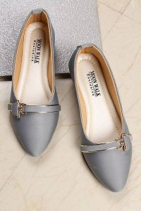 Stylish Synthetic Material Party Wear Bellies Sandal For Womens (Color: Grey)