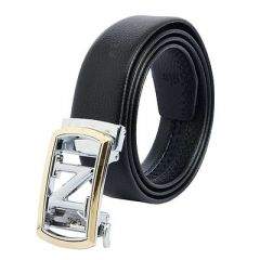Trendy Solid Artificial Leather and Designing Auto Lock Glossy Buckle Belt For Men's (Black)