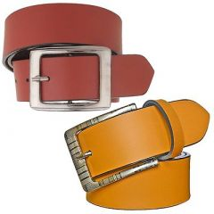 Stylish and Slim Fit Solid Synthetic Leather Formal Belt For Men's (Multi-Color) (Pack of 2)