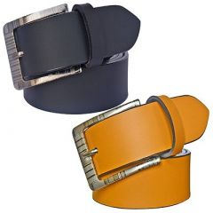 Stylish and Slim Fit Solid Synthetic Leather Formal Belt For Men's (Yellow and Black) (Pack of 2)