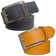 Solid Slim Fit Synthetic Leather Formal Belt For Men's (Yellow and Black) (Pack of 2)