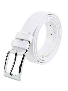 Elegant Solid Formal Synthetic Leather Belt For Men's (White) (Pack of 1)