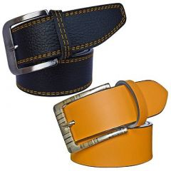 Stylish Solid Synthetic Leather Formal Belt For Men's (Black & Yellow) (Pack of 2)