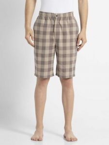 JOCKEY Pure Cotton Checkered Bermuda Shorts For Men's (Brown) (Pack of 1)