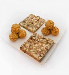Bhavani Foods Amingad Famous Vijaya Supreme Karadant & 1 Pack Ladagi Ladoo (Pure Organic Jaggery Sweets) (Combo Pack)