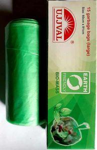 Bhavani Foods UJJVAL Biodegradable Garbage Bags Extra Large Size Garbage Bags For Dry & Wet Waste (Green) (Buy 4 Packs & Get 1 Free | 1 Pack 15 Bags)