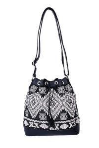 Celtic Buff Crazy Leather Shoulder Bag with Thread Work (Black) | Pack of 1