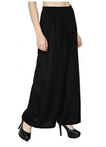 Jazbay Stylish & Fashionable Full Length Elastic 100% Pure & Soft Rayon Palazzo For Women In Black Color (Free Size)