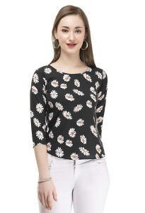 Jazbay Trending, Stylish & Fashionable Regular Fit Beach Wear & Casual Wear Crepe Soft 3/4th Sleeves Nice Printed Plain Cut Work TOP For Women (Pack Of 1)