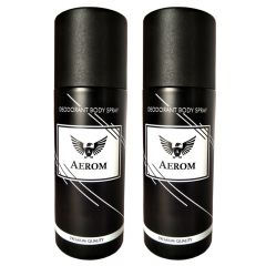 Aerom Black & Black Premium Quality Deodorant Body Spray For Men (Pack of 2, 150 ml Each)