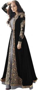 Women's Faux Georgette Semi Stitched Top With Bottom Embroidered Flared Dress Material with Dupatta