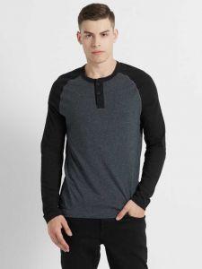 JOCKEY Comfortable and Regular Fit Full Sleeve Neck T-Shirt For Men's (Black & Grey) (Pack of 1)