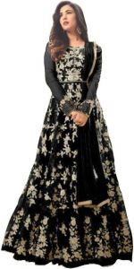 Women's Designer Net Embroidered Semi Stitched Salwar Suit Material with Dupatta (Pack of 1)