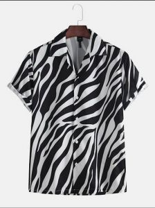 Regular Fit Polycotton Short Sleeves Casual Shirt for Men's (Black & White) (Pack of 1)