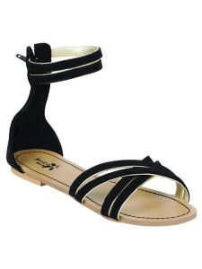 Sakhicollection Casual & Fashionable & Party Wear Sandal for Women (Black/Skin)