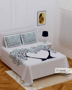 Rajasthani Print Pure Cotton Jaipuri Double Bedsheet with 2 Pillow Covers (Size:  90 x 100 Inches) (Weight: 1kg)