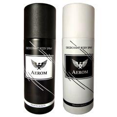Aerom Black & White Premium Quality Deodorant Body Spray For Men 150 ml each (Pack of 2)
