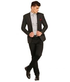 Comfortable and Stylish Self Pattern Polyviscose Blazer For Men's (Dark Grey)