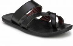 AUSTINJUSTIN Top Grain, Slip On Synthetic, Casual Airmix Sole Sandal For Men (Color-Black)