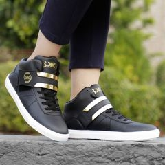 BXXY Mens Faux Leather Casual with Strap lace-up Boots Black Shoes Style: 567A