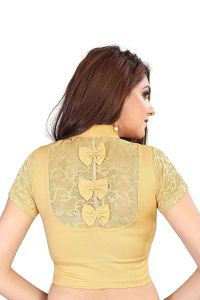 Cotton Lycra Fabric Jacquard Knitted Work Stretchable Blouse for Womens (Color:-Gold)