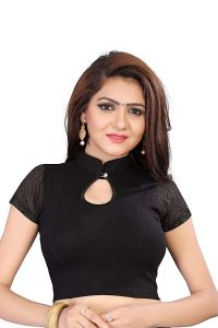 Stretchable Readymade Cotton Knitted Fabric Shot Sleeves Saree Blouse