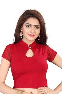 Stretchable Readymade Cotton Knitted Fabric Shot Sleeves Saree Blouse (Color: Maroon)