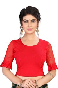 Stretchable Cotton Lycra Fabric Shot Sleeves with Lining Blouse for Womens (Color-Red)