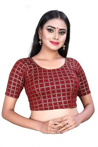 Stretchable Cotton Lycra Fabric Half Sleeves with Lining Blouse for Womens (Color-Maroon)